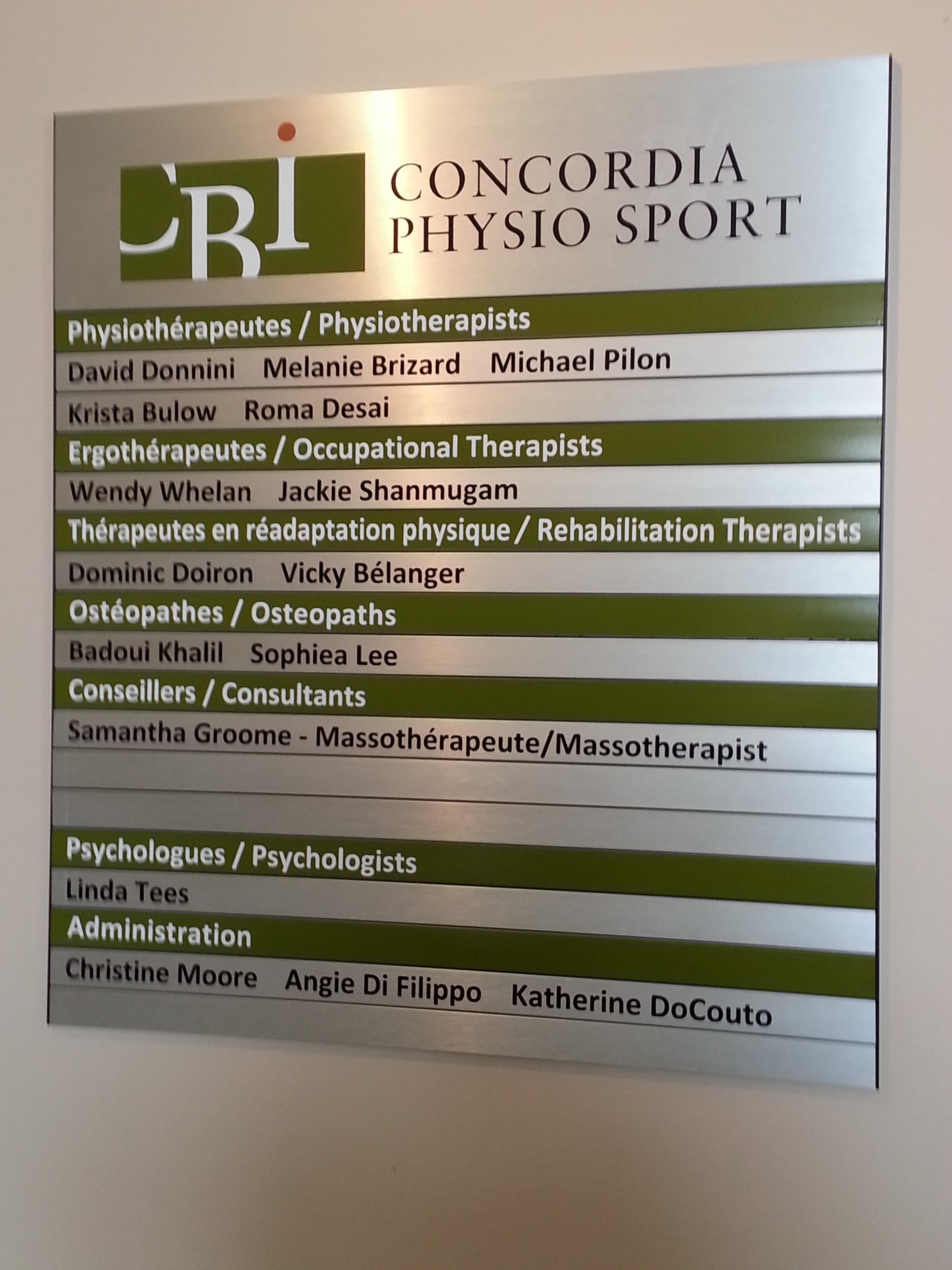 Office Signs - Concordia Physio Sport